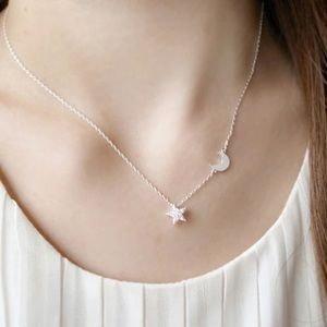 925 moon star dainty silver pave necklace